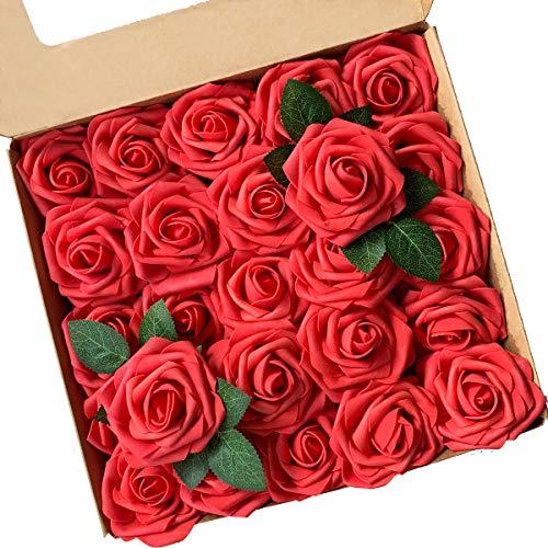 Künstliche Blumen, ACDE Künstliche Rosen 25 Stück Gefälschte Schaum Rosen Echt Schauend mit Blatt und Verstellbarem Stiel für DIY Hochzeit Blumensträuße Braut Party Zuhause Dekorationen (Rot)