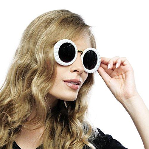 Panelize Brille Sonnenbrille weiß im Stil der 60er 70er Jahre Jackie Audrey