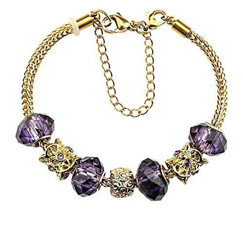 and mit Charms für Pandora 10Jahre Jubiläum und Weihnachten Geschenk Ideen jewwelery DIY Hand Made Glas Perlen 19,1cm und Extender (Perlen-armband-ideen)