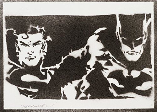 Superman Und Batman Handmade Street Art - Artwork - (Dark Superman Kostüme)