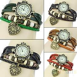 Women Watch Retro Leather Bracelet Heart Decoration Quartz WristWatches 1N94