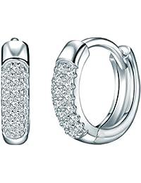 Rafaela Donata - Créoles avec fermetures à charnière - Argent sterling 925 oxyde de zirconium, boucles d'oreilles oxyde de zirconium, bijoux en argent - 60837071