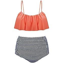 Angerella Vintage Lindo Ruffles Strap Bañador Crop Top Flounce Cintura Alta Conjunto de Bikini