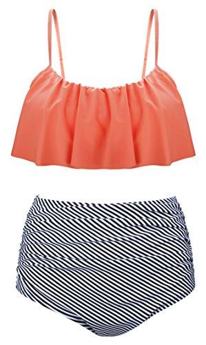 Angerella Vintage Niedlich Ruffles Strap Badeanzug Crop Top Flounce Hohe Taille Bikini (Frauen Bikini-top)