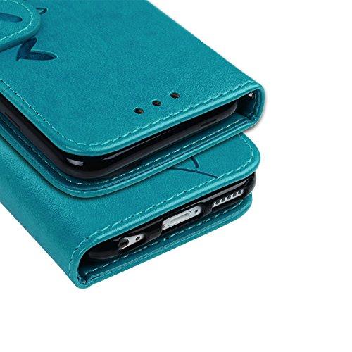 Sunroyal iPhone 6S Plus / iPhone 6 Plus Coque Motif 3D Bling Strass Papillon Jaune Rouge Bleu PU Cuir Flip Housse Étui Cover Case Wallet Luxe Portefeuille Support avec Porte-cartes Etui Housse Pochett PU Bleu