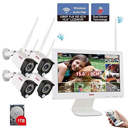 【All-In-One Audio Set】 Tonton 1080P Audio Überwachungskamera Set mit Monitor WLAN System 15.6 Zoll LCD-Monitor 1TB Festplatte 4 * 1080P Wireless 2.0MP Überwachungskameras PIR Sensor für Innen Außen -
