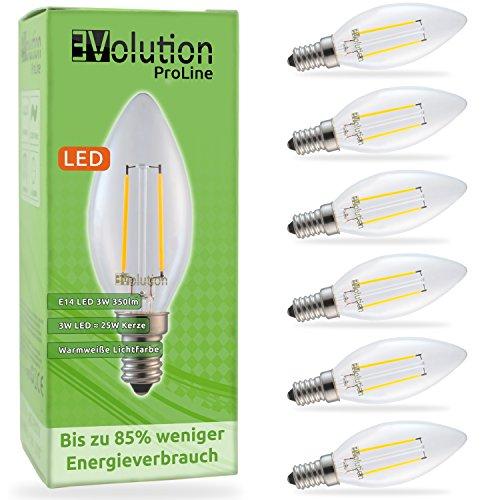 Evolution E14 3W 350lm | bombillas incandescentes de filamento LED | Lámpara de 230V AC 270 ° | Reemplazo de 20-25W | Lámparas E14 blanco caliente | Conjunto de 6