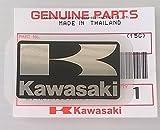 BRAND NEU 100% GENUINE Original KAWASAKI ' K ' Mark Aufkleber Aufkleber SCHWARZ / SILBER 42mm x 24mm