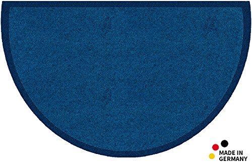matches21 HOME & HOBBY matches21 Fußmatte schmutzabsorbierend Schmutzfangmatte Uni einfarbig blau 50x80 cm halbrund waschbar 30°C - in 10 Farben erhältlich