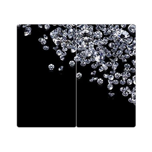 Herdabdeckplatten m. Noppen 2er-Set Schneidebrett Diamanten Brillanten