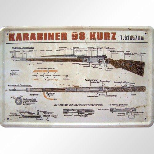 """""""Karabiner 98 K"""" Blechschild Replik"""