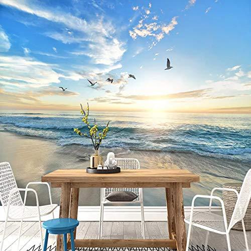 KYZFF 3D Hd Wallpaper Fototapete Benutzerdefinierte Fototapete 3D Möwe Blauer Himmel Weiße Wolken Meer Landschaft Wandbild Wohnzimmer Sofa Schlafzimmer Tapeten Wohnkultur -