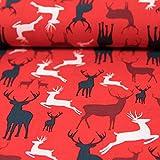 Stoffe Werning Baumwollstoff Weihnachten Hirsche rot Advent - Preis Gilt für 0,5 Meter