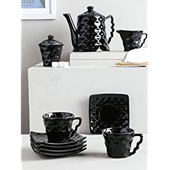 Unravel India Ceramic Black Diamond Tea Set(Set Of 15)
