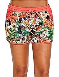 rebirthesame Las señoras Casuales Pantalones Cortos de Playa, Pantalones de Playa Suelta Corbata Impresa Encaje Boxeador