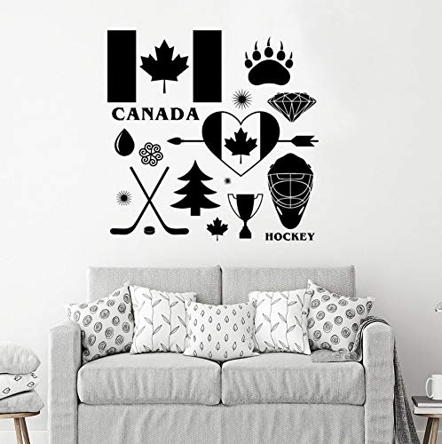 rylryl Land Kanada Zeichen Wandtattoo Hockey Symbol Vinyl Wandbild Abnehmbare Kanada Wand Dekoration DIY Muster 57x57 cm