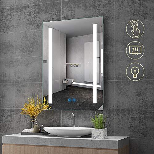 Quavikey LED Badezimmer Wandspiegel mit rechteckigem Licht Beleuchtung Badspiegel Badezimmerspiegel 500 x 700mm Lichtspiegel Schminkspiegel Badezimmer Spiegel mit Touchschalter Kosmetikspiegel