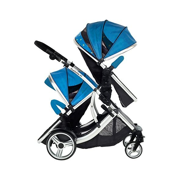 Kids Kargo Duellette 21 Combi Travel system Pram double pushchair NEW COLOUR RANGE! (French aqua plain bumpers) Kids Kargo Demo video please see link https://www.youtube.com/watch?v=X_tEcnQ8O8E%20 Suitability Newborn - 15kg (approx 3 yrs). Carrycot converts to seat unit incl mattress Carrycot & car seats fit in top or bottom position. Compatible car seats; Kidz Kargo 0+, Britax Babysafe 0+ (no adapters needed) or Maxi Cosi adaptors 5