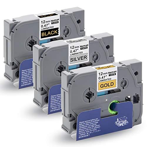 3x Xemax 12mm x 8m P-touch Tze 0.47' Nastro Tze-831 Tze-931 Tze-334 Bianco su Oro/Argento Cassette, Compatibile per Brother P-Touch H101C PT-D600VP PT-E100 PT-D210VP PT-H105 PT-D450VP PT-P750W