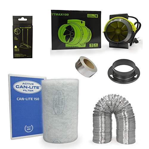 Kit extracteur 187m3/h + filtre à charbon Can-Lite 100mm