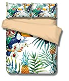 Duvet Cover Set Tropical Hawaiian Birds Pineapple Leaf Housewife Non Lron Quilt Bedding Sets with Pillow Cases Double Size Bed 3pcs