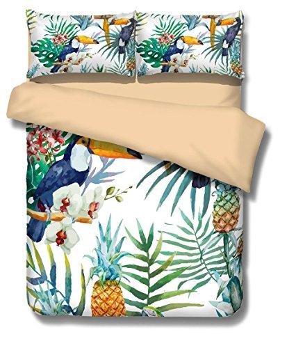 Bettwäsche Set Aquarell Tukan Muster Polyester-Baumwolle Bettbezug-Set 3 tlg (135x200cm)