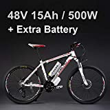 26 'vélo électrique d'alliage d'aluminium de batterie au lithium 48V 500W, vélo électrique de 27 vitesses, VTT / vélo de montagne, adoptent des freins à disque d'huile (15Ah blanc rouge Plus la batterie)