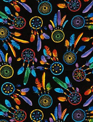 Attrape-rêves multicolores sur noir fantaisie pour matelassage artisanal Tissu de coton Fat Quarter Décor Couture