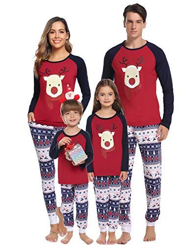 Aibrou Kinder Weihnachten Schlafanzug Pyjama Set Lang Nachthemd Nachtwäsche Hausanzug mit Davidshirsch S