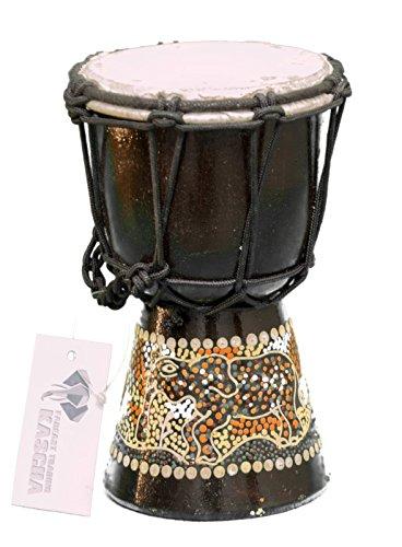 Kascha - 20cm Kinder Djembe Trommel Bongo Drum Buschtrommel Afrika-Style handbemalt aus Mahagoni Holz Elefant