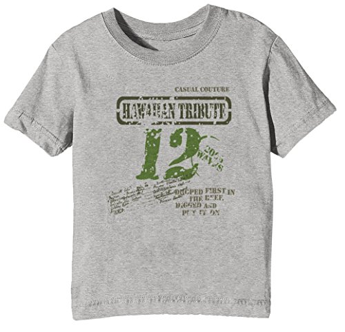 Hawaiian Tribute Kinder Unisex Jungen Mädchen T-Shirt Rundhals Grau Kurzarm Größe XL Kids Boys Girls Grey X-Large Size XL (Herren Shirt Baumwolle New Hawaiian)