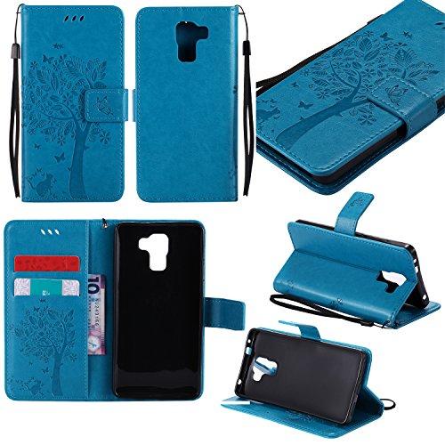 Cozy Hut Huawei ShotX/Honor 7i Blau Hülle, Premium Leder Flip Case im Bookstyle Folio Cover Kartenfächer Magnetverschluss und Standfunktion Leder Schale Etui für Huawei ShotX/Honor 7i - blau