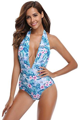 SHEKINI Damen Einteiliger Badeanzug Neckholder Monokini Schwimmanzug Bedruckter Halter Tiefer V-Ausschnitt Rückenfrei Hohe Taille Gepolstert Badeanzüge (X-Large, Blumen-Druck in Blau)