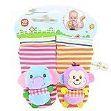 Wudi Un par de calcetines para bebé Sonidos pulseras recién nacido del bebé del traqueteo de traqueteo sensorial de juguete