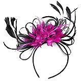 Caprilite Fashion Fascinator, Kopfschmuck mit Federn, für Hochzeit oder Royal-Ascot-Rennen, Schwarz/fuchsia/pink