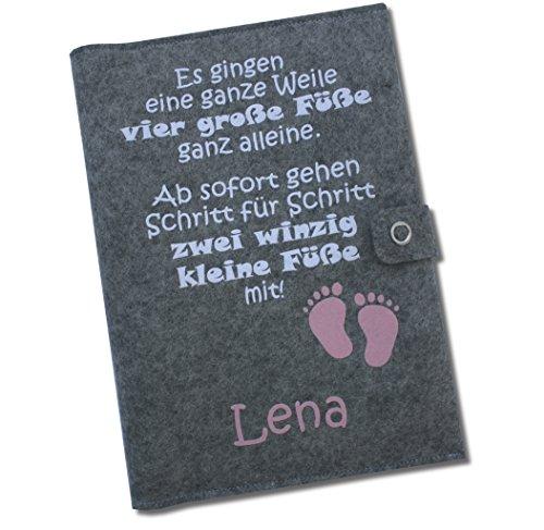 """U-Hefthülle Deluxe """"Es gingen eine ganze Weile"""" mit Namen und Geburtsdaten sowie zwei Fächern und Verschluss - aus 100% Wollfilz - in deutscher Handarbeit gefertigt - Rosa - 2"""