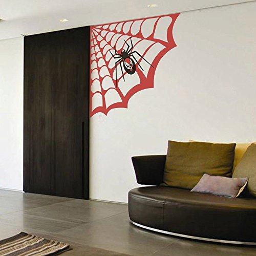 Geckoo Größere Spider Web Wand Aufkleber Play Zimmer Aufkleber Creative Halloween Vinyl Kunst Raum Ecke Aufkleber (Large, Spider Web-Tomato rot; Spider-Black) (Ecke Web Spider Halloween)