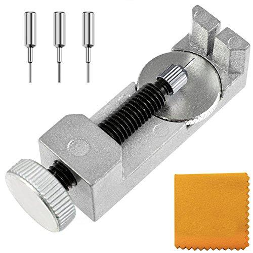 Zacro Kit di Riparazione Orologi Professionale, Strumento Riparazione Regolabile per Cinturino Braccialetto di Orologio Link Pin Remover con 3 Perni Supplementari