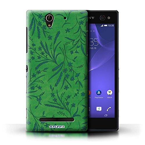 Kobalt® Imprimé Etui / Coque pour Sony Xperia C3 / Gris conception / Série Motif floral blé Vert/Bleu