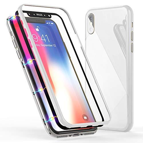 NALIA Magnetische 360° Glas Hülle kompatibel mit iPhone XS Max, Ultra-Slim Hard-Case Dünnes Hartglas Back-Cover mit Rahmen & Display-Schutz, Full-Body Schutzhülle Bumper Handy-Tasche, Farbe:Weiß