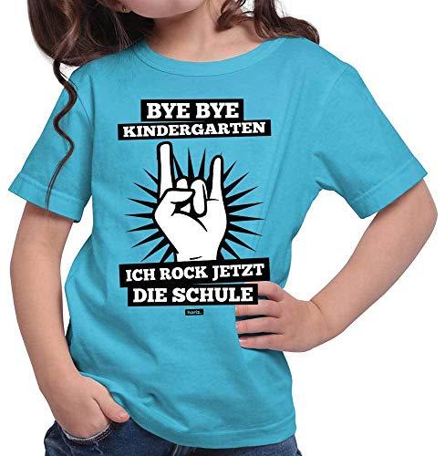 HARIZ  Mädchen T-Shirt Bye Bye Kindergarten Ich Rock Jetzt Die Schule Schulanfänger Inkl. Geschenk Karte Azur Blau 128/7-8 Jahre -