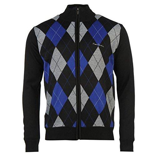 Pierre Cardin con zip Argyle cardigan da uomo nero/Royal jumper maglione top, Black/Royal, S