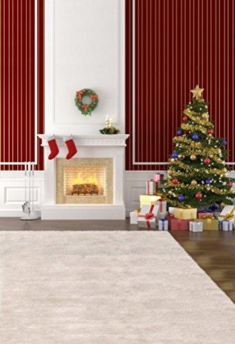 A.Monamour Navidad Fiesta Decoración Pared Decoración Mural Pino Árboles Calcetín Regalos Chimeneas 5X7Ft Fotografía Backdrops Vinilo