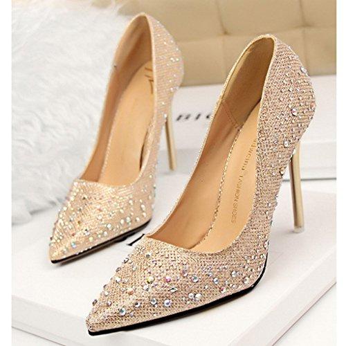Minetom Femme Escarpin Talon Haut Élégant Brillant Strass Stilettos Soirée Mariage Bal Classique Chaussures Or