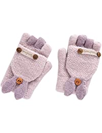 bc631cc10 THEE Unisex Boys Girls Flip Top Gloves Warm Half Finger Stretchy Knit Gloves