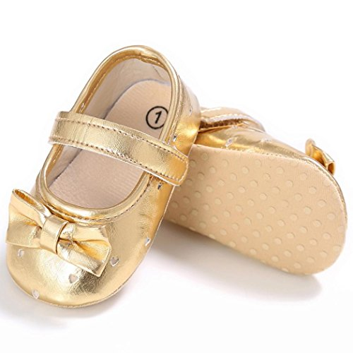 Baby schuhe Jamicy® BabyJungen Mädchen Bowknot Leder Schuhe Sneaker Anti-Rutsch Soft Sole Kleinkind Schuhe (6~12 Monate, Blau) Gold