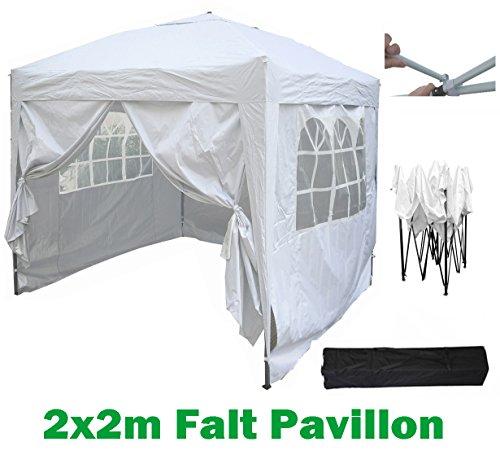 mcc@home 2x2m Pavillon, Gartenpavillon, Falt-Pavillon, Festzelt, Partyzelt, Komplettset in 6 Farben von MCC (Weiß)