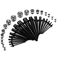 Jstyle 36 Pcs Stainless Steel Tunnel Set Ear Stretching Taper Ear Stretchers Kit Acrylic 14G to 00 Gauge