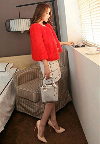 Saoirse Mode Damen 100% Echter Kanichen Pelz kurze Schlanke Mantel Rost-Rot