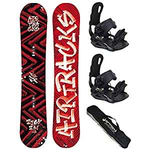 Airtracks Snowboard Set – Dirty Brush Snowboard Wide Hybrid Rocker + Snowboard Bindung Star oder Snowboard Bindung Master Fastec + Sb Bag / 150 153 155 158 160 / cm